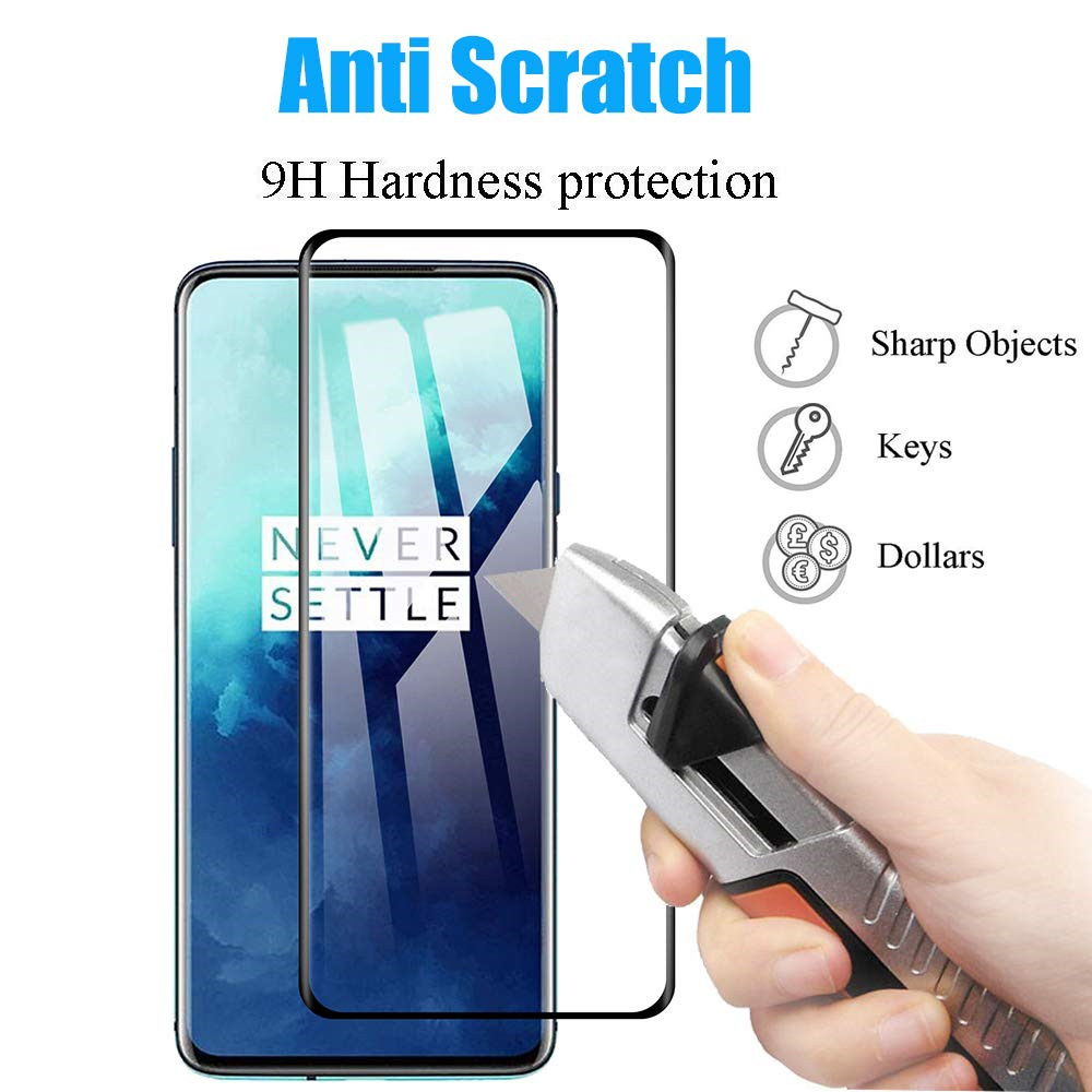 3D 9H Tempered Glass Screen Protector for OnePlus 7T Pro 2pcs- Black
