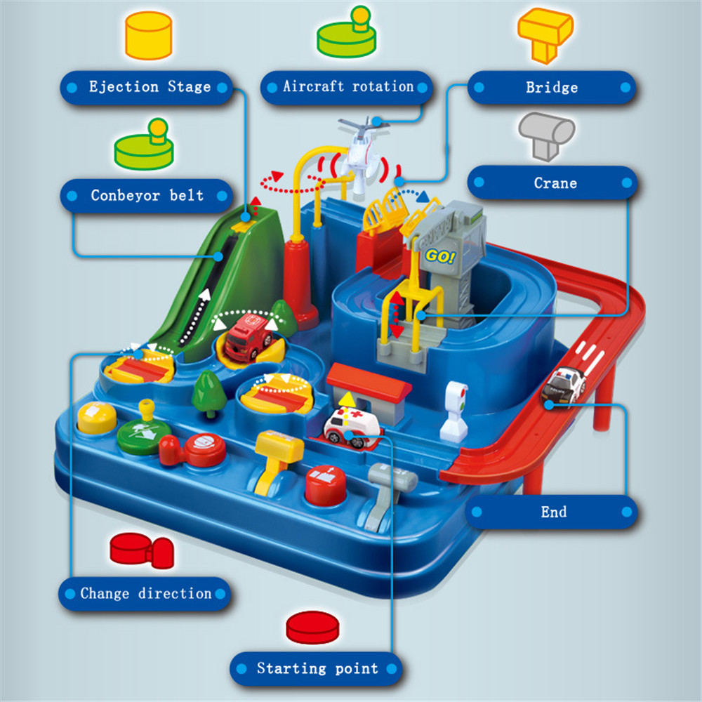 Manual Car Adventure Track Family Game Toy- Multi