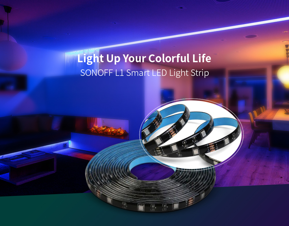 SONOFF L1 Dimmable Smart WiFi RGB LED Light Strip- Black Only 2m led strip