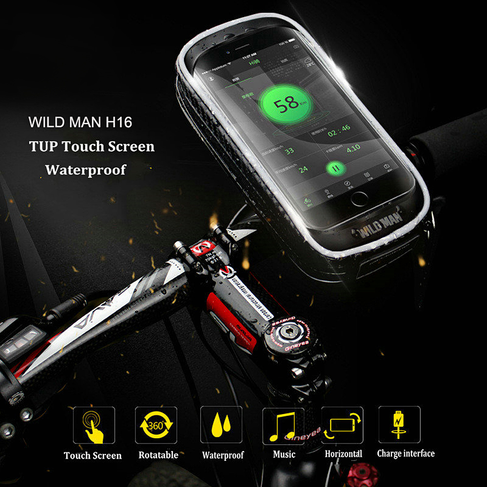 WILD MAN H16 Mountain Bike Bag Cycling Mobile Holder Electric Vehicle Navigation Bracket Cycling Equipment- Black 6-6.5 inch