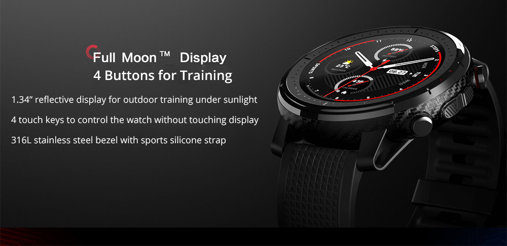 Amazfit Stratos 3 Smart GPS Sports Watch 1.34 inch Screen 5ATM Waterproof Global Version- Black