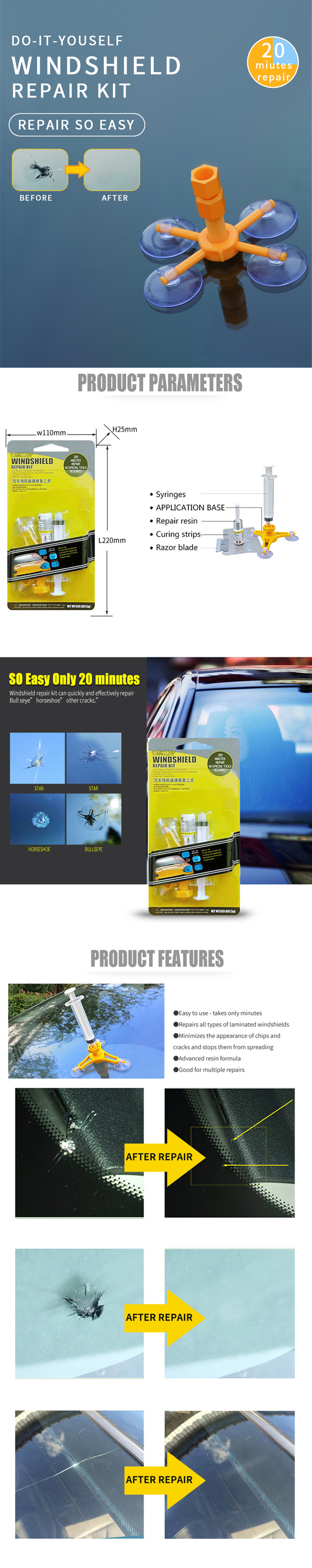 DIY Auto Glass Windshield Repair Tool Kit- Yellow