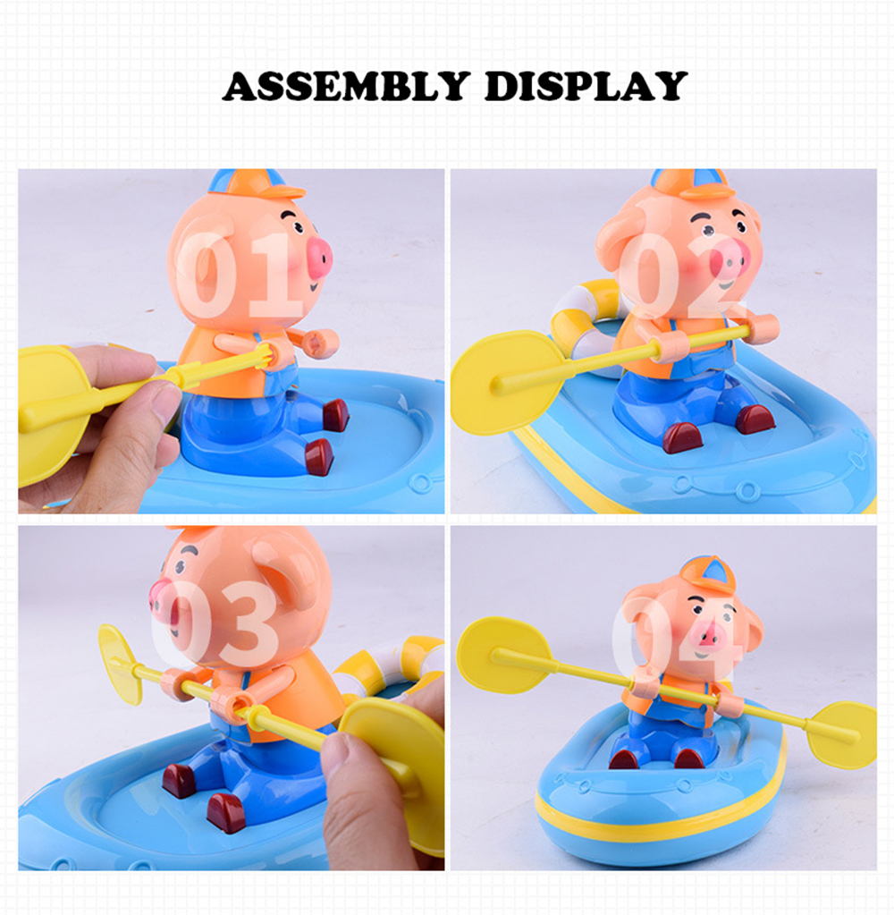 Cute Pig Wind Up Automatic Boating Swimming Puppy Bath Toy- Blue