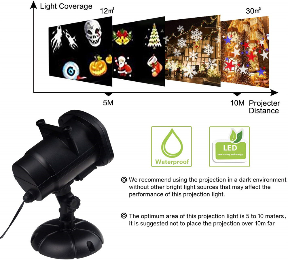 2019 Newest Version 12 Patterns Waterproof Decorations Christmas Projector Light- Black EU Plug