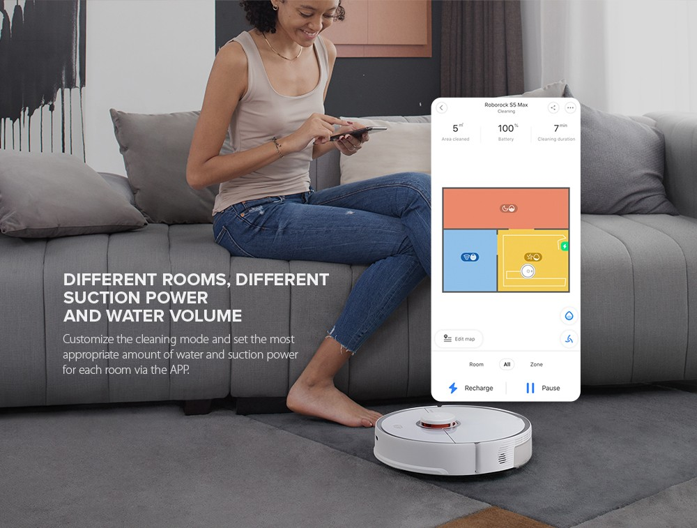 Roborock S5 Max Laser Navigation Robot Vacuum Cleaner with Large Capacity Water Tank Off-limit Area Setting AI Recharge- White EU Plug