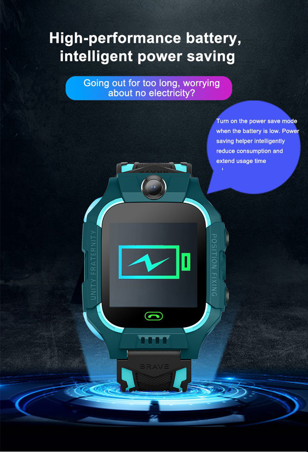 U1L Children Smart Watch V1.0 Version with Variable Game Style- Cyan Opaque