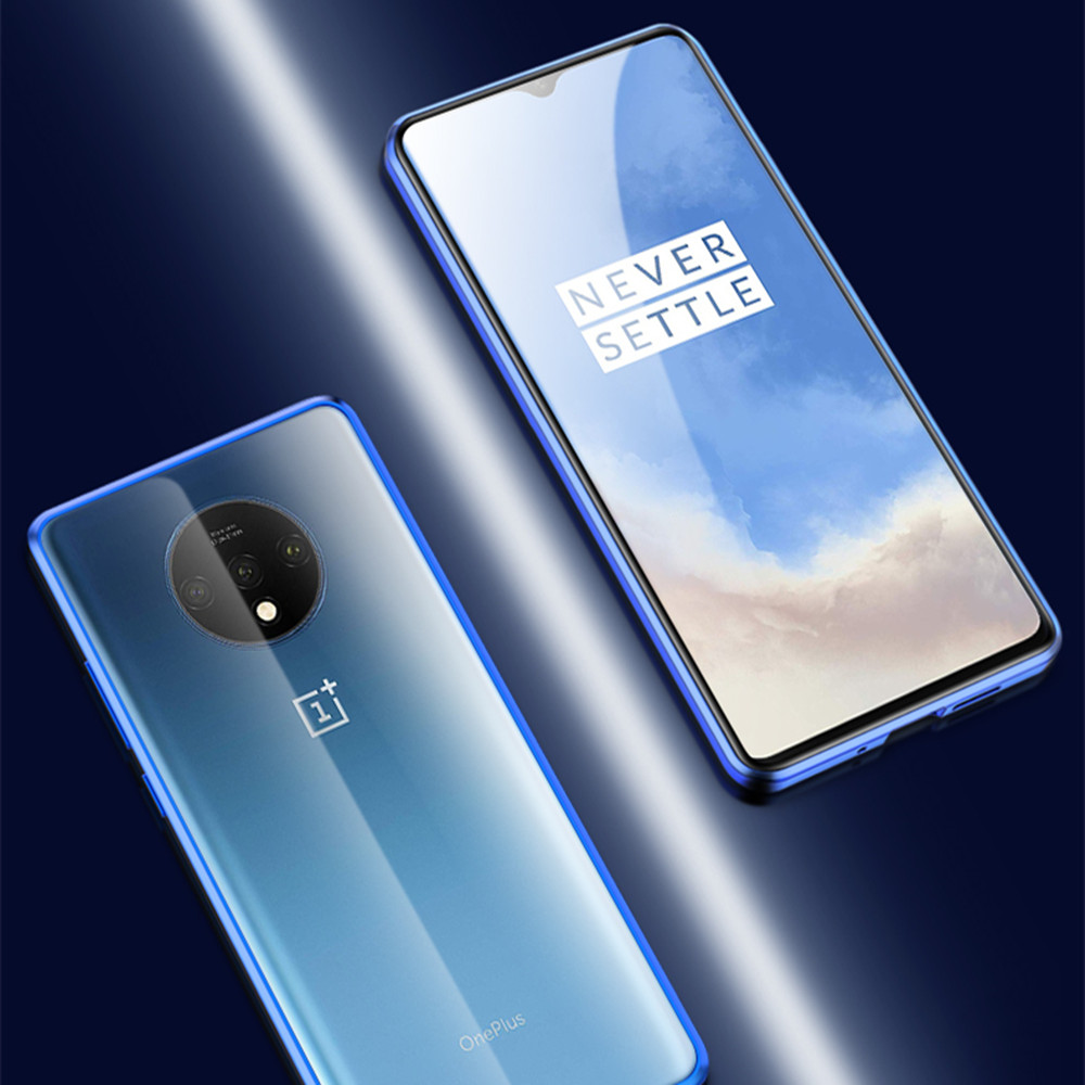 Double Sided Glass Metal Magnetic Phone Case for OnePlus 7T- Blue