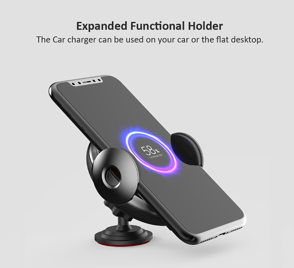 15W Fast Charging Infrared Electric Wireless Car Charger Phone Holder from Xiaomi youpin- Black
