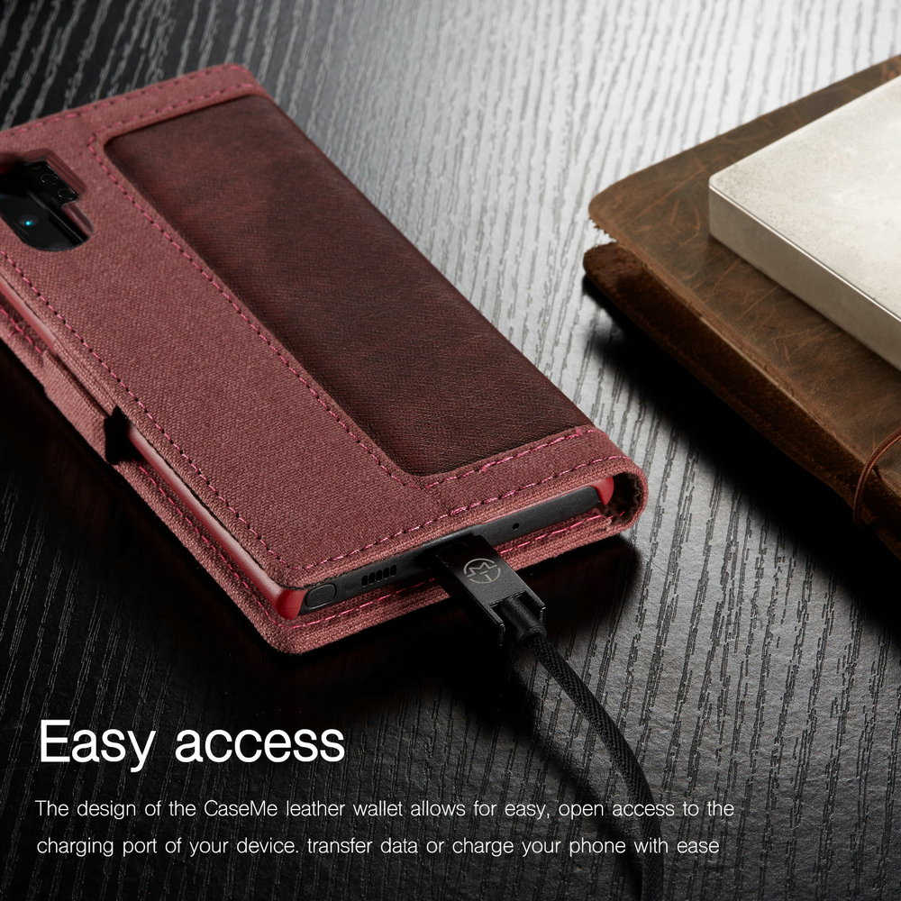 CaseMe Custodia Folio per Cellulari in Tela per Samsung Galaxy Note 10 Plus- Rosso