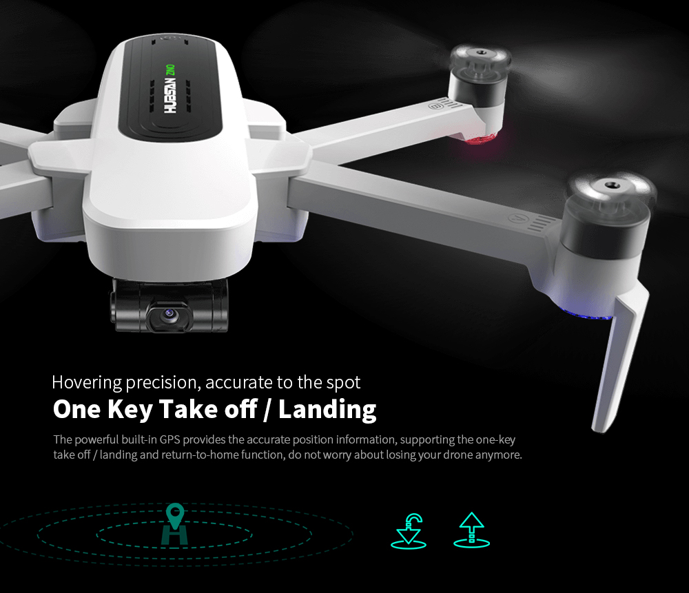 Hubsan Zino GPS 5G WiFi 1KM FPV with 4K UHD Camera 3-Axis Gimbal RC Camera Drone Quadcopter RTF - White EU Plug, 1 Battery without Storage Bag