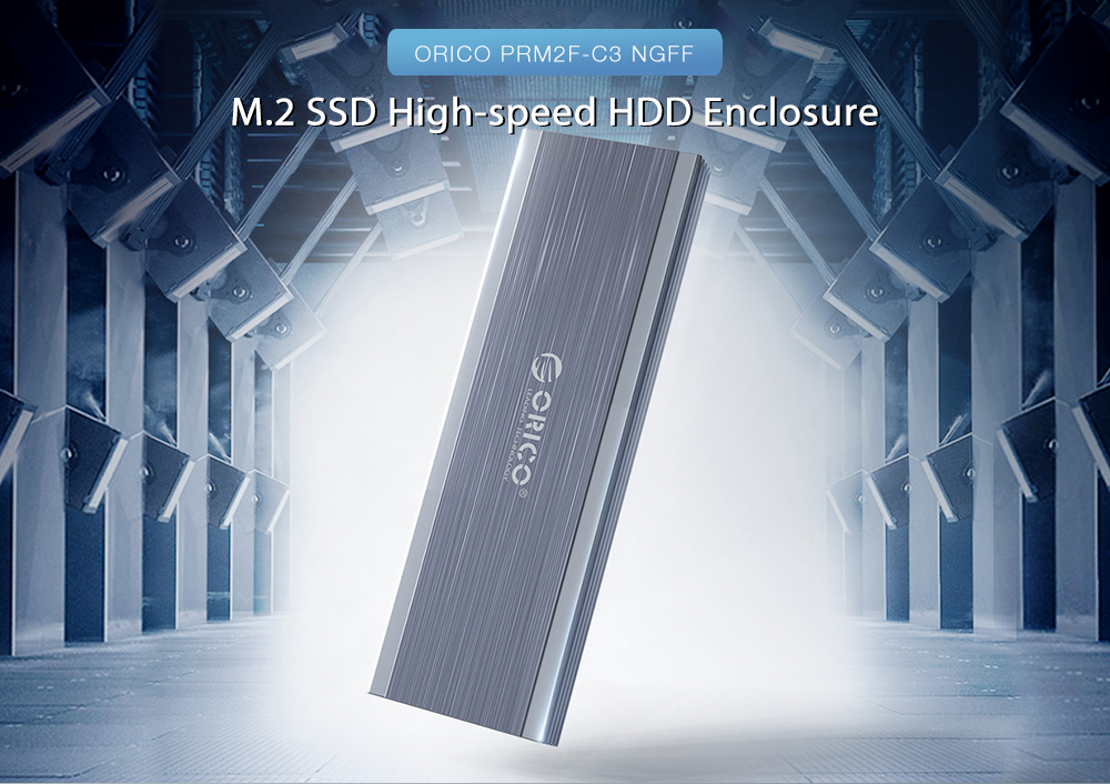 ORICO PRM2F-C3 NGFF M.2 SSD High-speed HDD Enclosure Brushed Aluminum Alloy Housing Type-C Interface Reverse Swap- Platinum