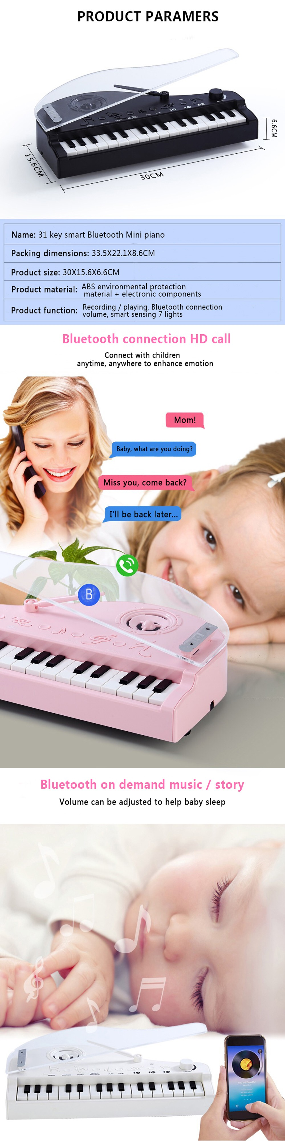 667 Intelligent Induction 31 Key High-quality Sound Bluetooth Colorful Piano- White