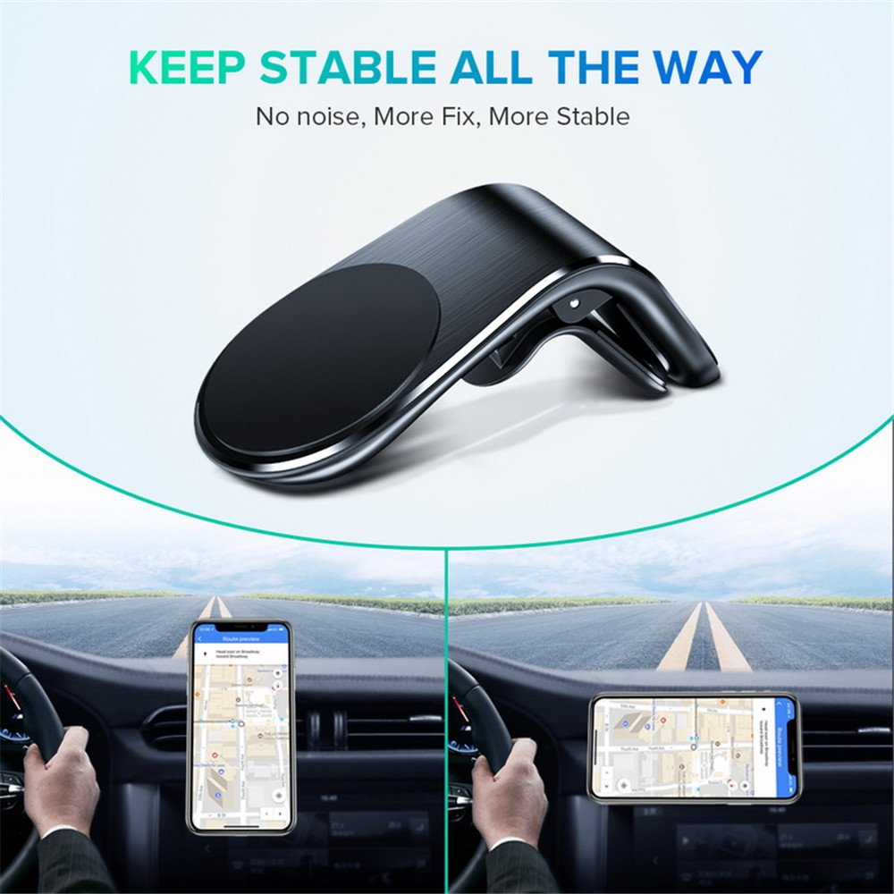 Air Vent Magnetic Car Phone Holder for iPhone Samsung Huawei Xiaomi OnePlus - Black