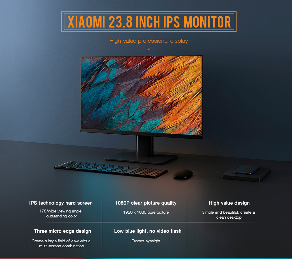 Xiaomi XMMNT238CB 23.8 Inch IPS Display 1080P HD Picture Quality 178-degree Wide Viewing Angle Ultra-thin Body Healthy Eye Color Simple Design High Value Regulation- Black