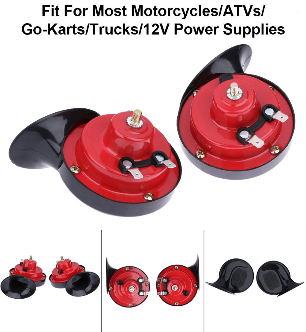 2 PCS Universal 12V 100-125DB Loud Dual-tone Electric Snail Air Horn- Red Pack of 2