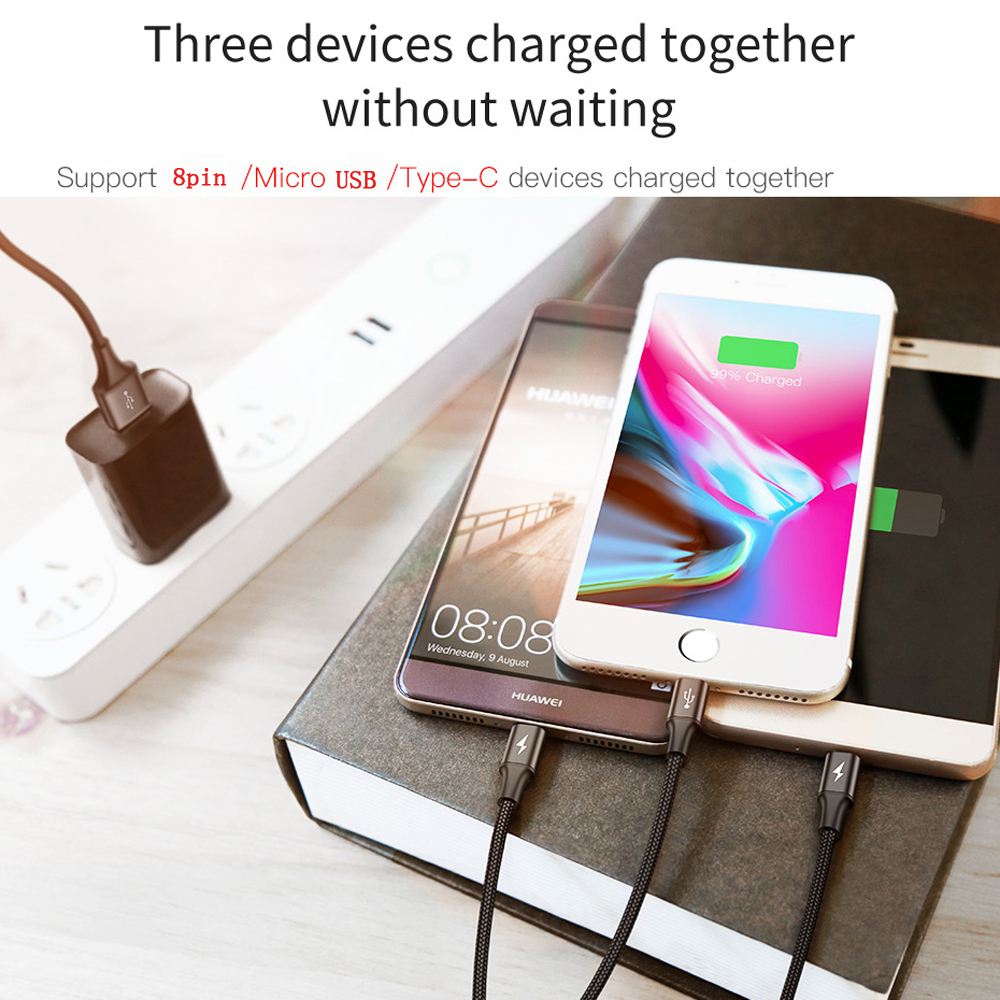 Baseus3 in 1 USB Cable Fast Charging 3A Charging Cable Micro C Cable for IPhone- Dodger Blue