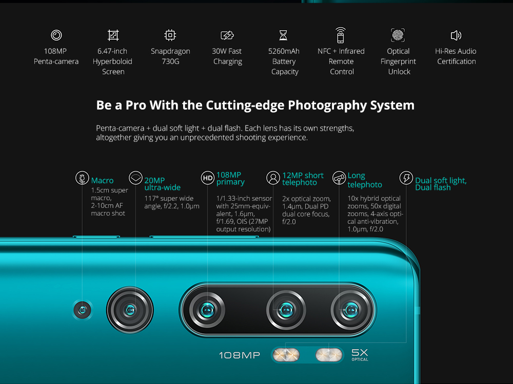 Xiaomi Mi Note 10 (CC9 Pro) 108MP Penta Camera Phone 6.47 inch 4G Phablet Global Version with 6GB RAM 128GB ROM 5260mAh Battery Fast Charging- Green