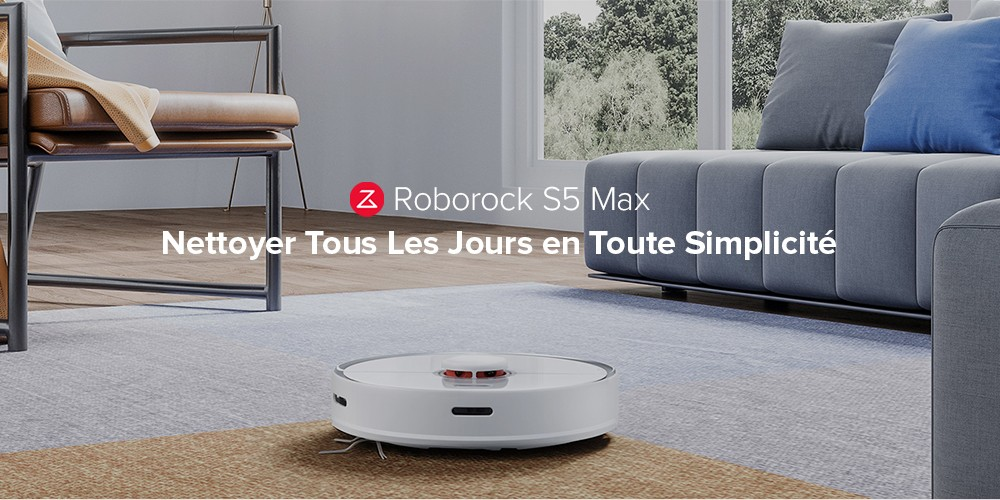 Roborock S5 Max Robot Aspirateur de Navigation Laser de Xiaomi You Pin Version Internationale- Blanc PRISE EU