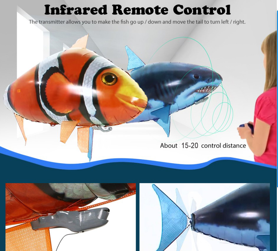 Remote Control Inflatable Flying Fish Shark Birthday Marriage Inflatable Toys Ball- Bean Red