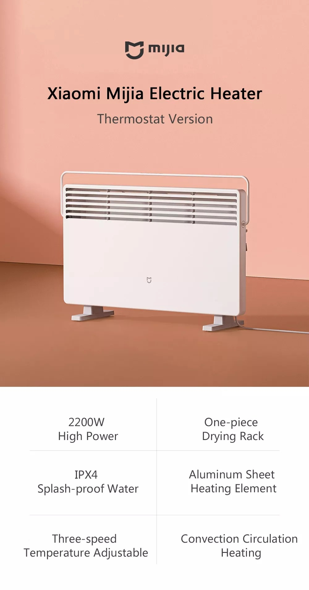 Xiaomi Mijia Electric Heater Thermostat Version- White