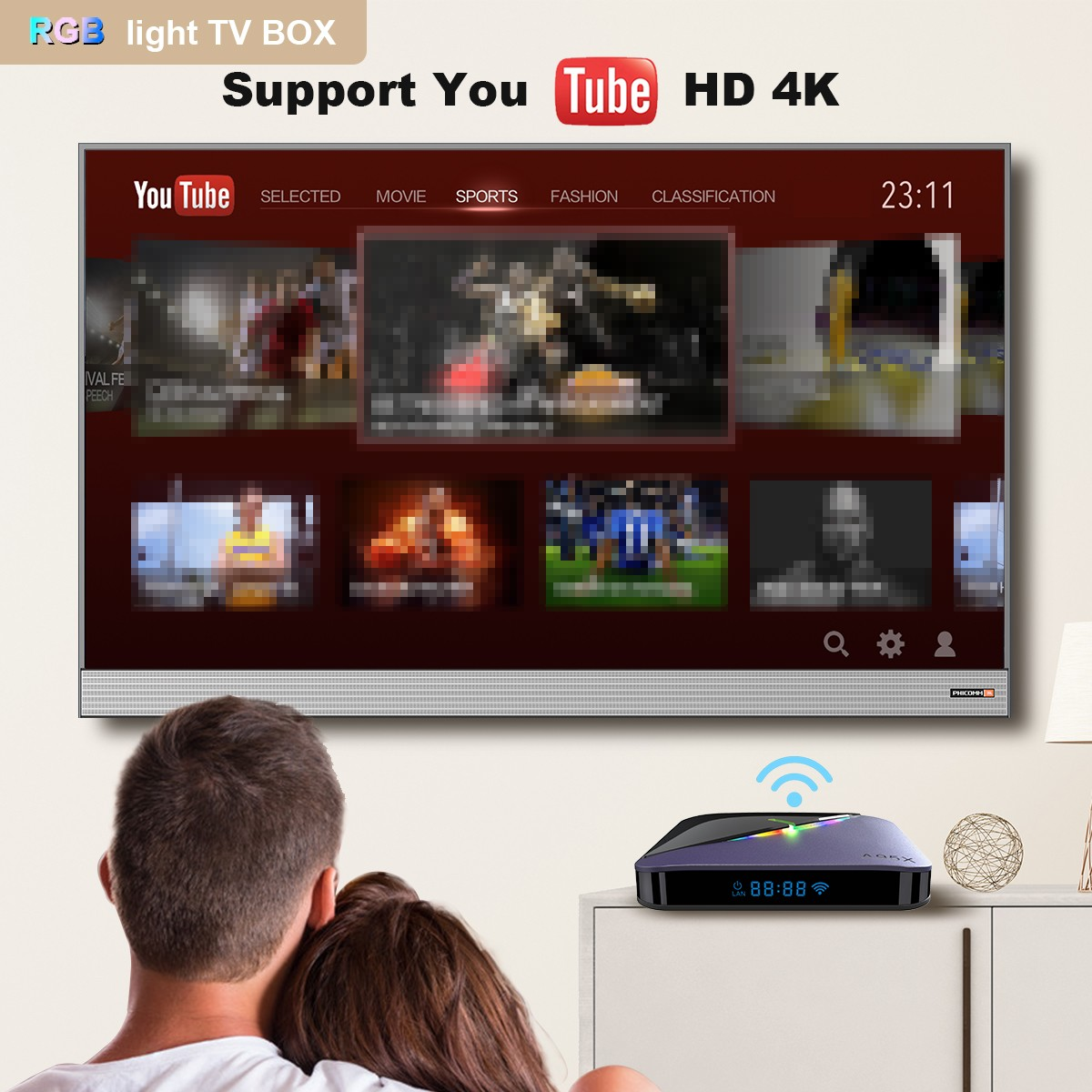 A95X F3 Android 9.0 RGB Light TV Box- Nero Spina UE da 2 GB RAM + 16 GB ROM