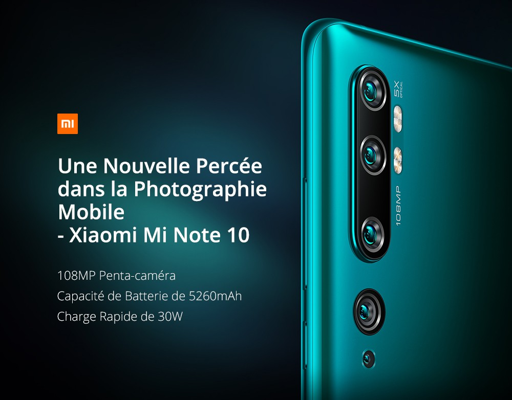Xiaomi Mi Note 10 (CC9 Pro) 108MP Penta Camera Phone 6.47 inch 4G Phablet Global Version with 6GB RAM 128GB ROM 5260mAh Battery Fast Charging - Green