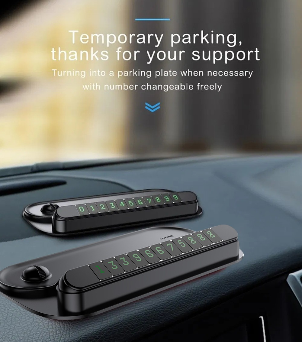 Baseus ACNUM-PM01 Multi-functional Car Phone Holder Dashboard Temporary Parking Card Number Plate - Black