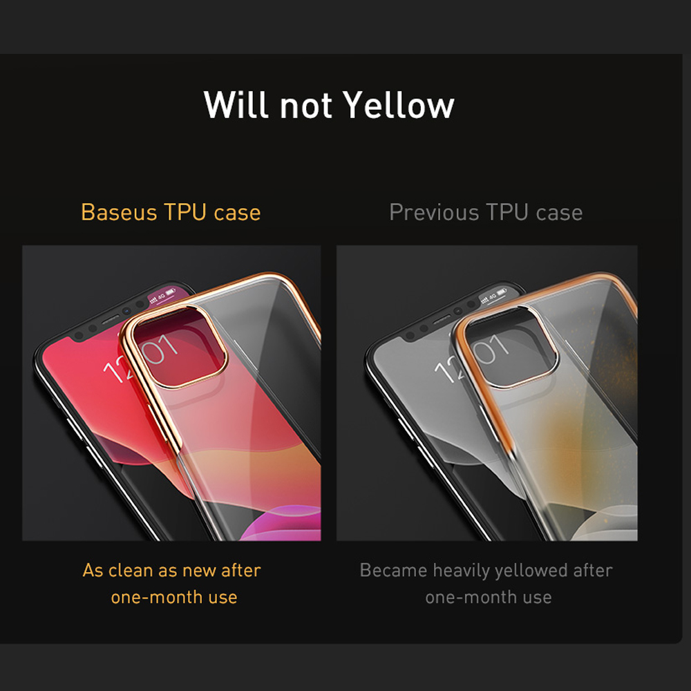 Durable Baseus Deluxe Silicone Case Back Cover for IPhone 11 Pro/ 11 Pro MAX- Golden brown