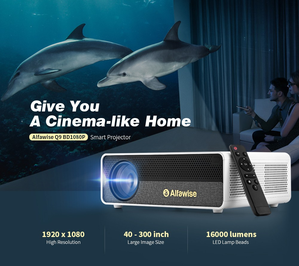 Alfawise Q9 BD1080P Smart Projector - White Android OS