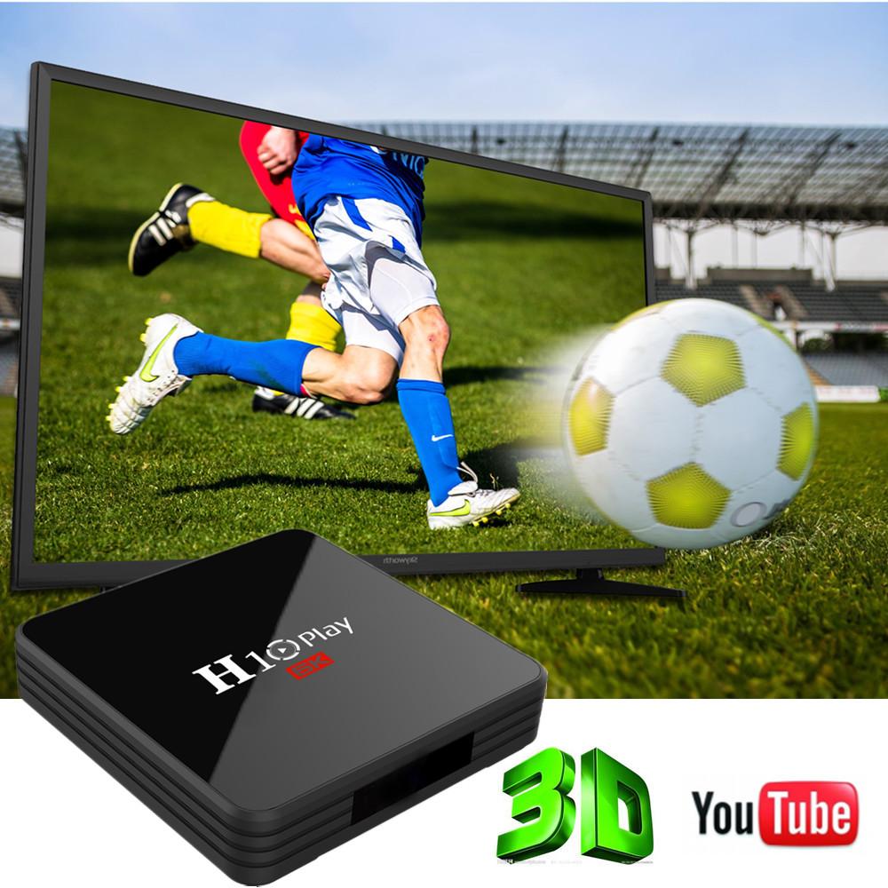 H10 Play Android 9.0 Smart 6K TV Box with Allwinner H6 2.4GHz WiFi 100Mbps USB3.0 H.264 H.265 Support 6K 30fps- Black 2GB RAM+16GB ROM US plug