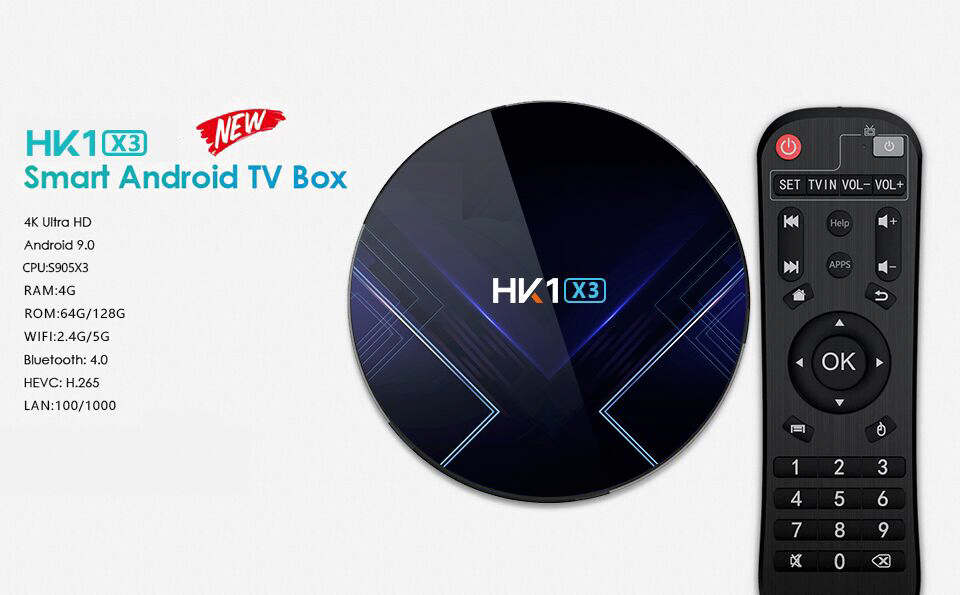 HK1 X3 Android 9.0 Smart TV Box- Multi Colori-A Spina da 4 GB RAM + 32 GB ROM USA