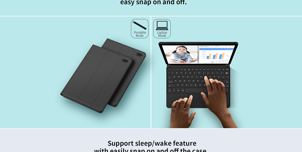 Original Teclast TL-T30 2-in-1 Magnetic Keyboard with Docking Interface Protective Cover Case Combo- Black
