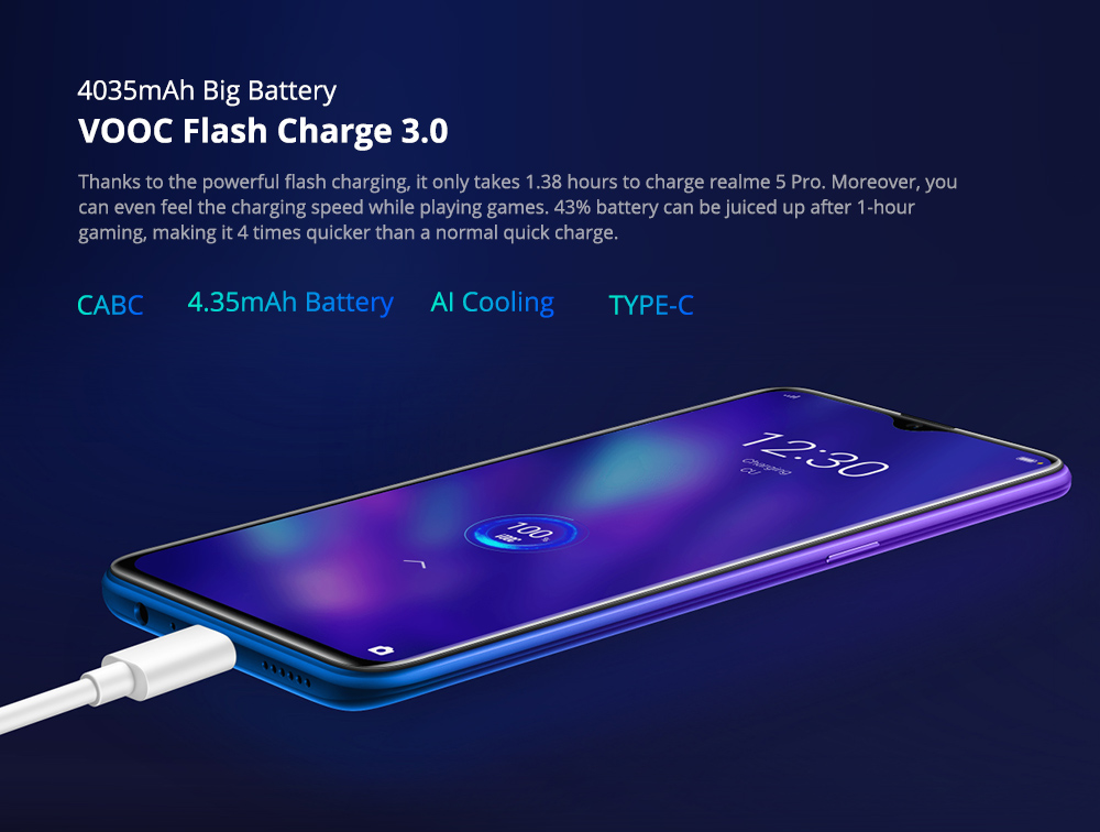 REALME 5 PRO BANNER 4035mAh Batter with VOOC Flash Charge 3.0 - ALEZAY