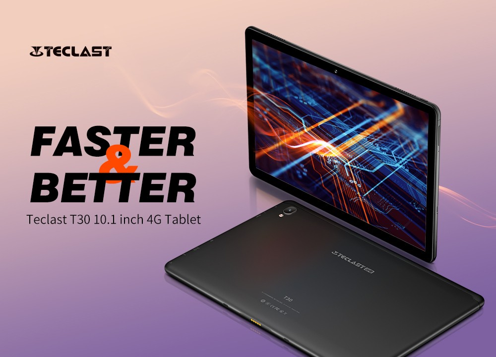Teclast T30 10.1 inch 4G Phablet Android 9.0 MT6771 ( Helio P70 ) 2.1GHz Octa Core CPU 2.5D Arc Edge Touch Screen 4GB DDR4 RAM 64GB eMMC ROM 8.0MP + 5.0MP Camera- Black