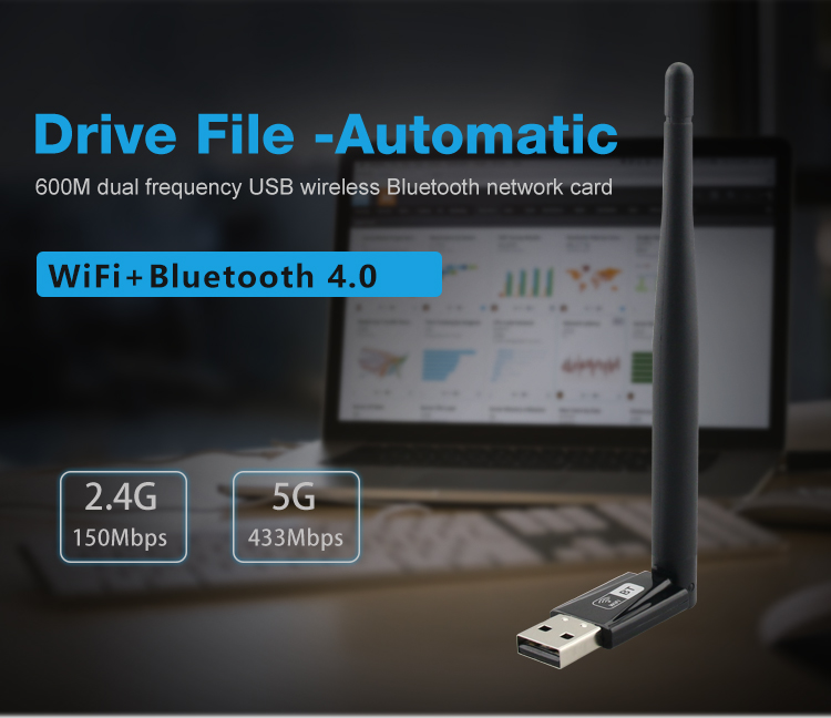 W69L Free Drive 600M Dual-band AC Wireless WiFi Bluetooth Network Card- Black