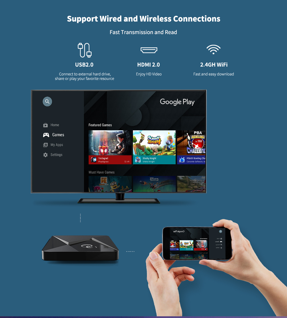 A95X MiniQ TV Box Intelligent Android 9.0 2Go / 16Go Rockp3228A 4K Ultra-HD 2.4G WiFi VP9 HDR10 H.264 H.265- Noir PRISE EU