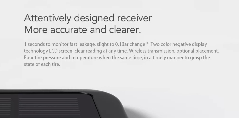 70Mai T01 English Version Solar USB Charging Powered Tire Pressure Monitor System from Xiaomi youpin- Black