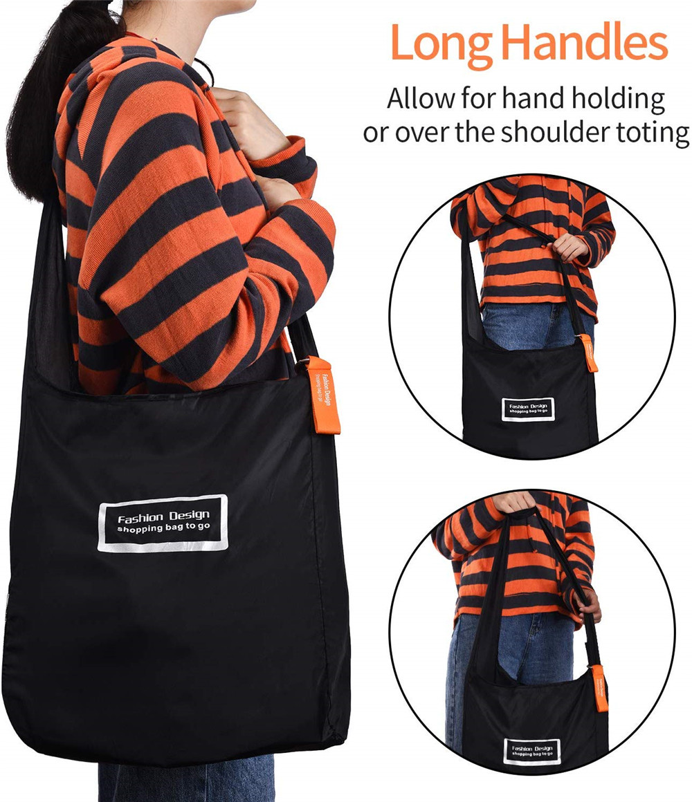 Multi Function Portable Folding Environmental Shopping Bag- Black