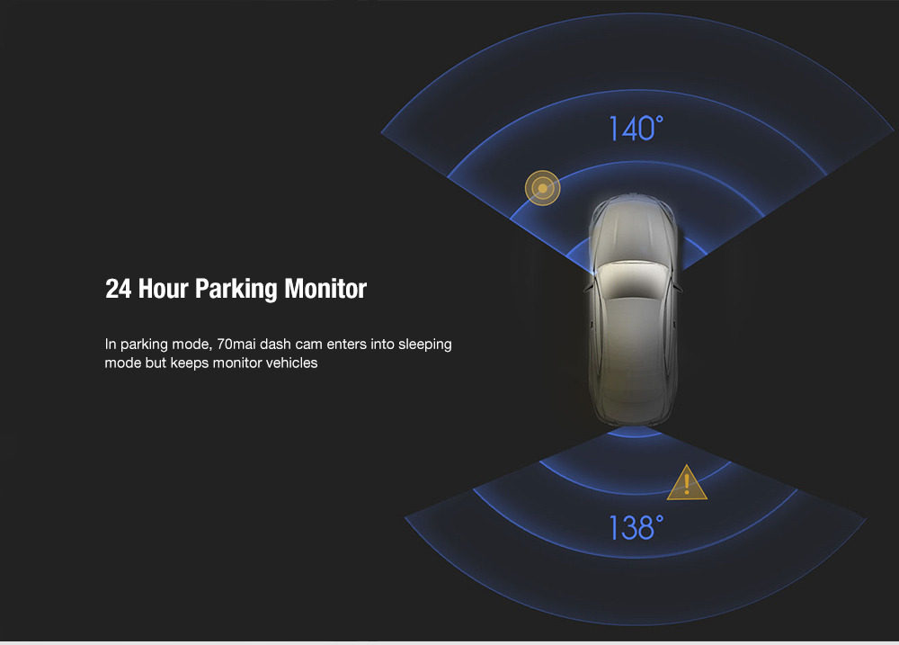 70mai D04 Smart Rearview Mirror Car DVR Camera 24H Parking Monitor Recorder from Xiaomi youpin- Black
