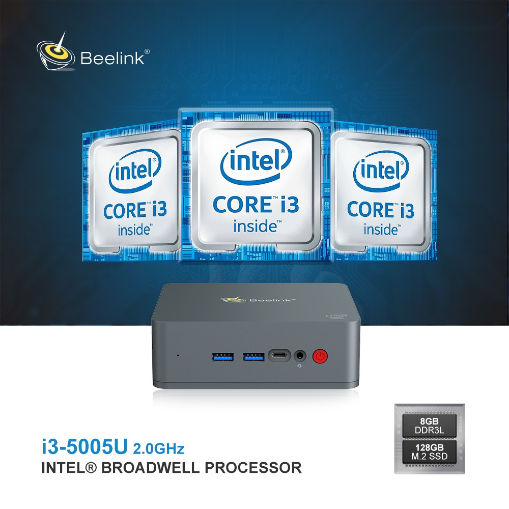 Beelink U55 Mini PC Intel Core I3-5005U / Intel HD Graphics 5500 / 2.4G + 5.8G WiFi / 1000Mbps / 2 X USB3.0 / BT4.0 / Support Windows 10 Professional 64 Bit- Black 8GB RAM+960GB SSD