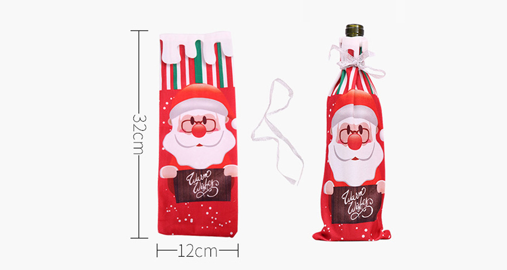 Christmas279 Cute Wine Bottle Cover for Christmas Decoration- Multi-C