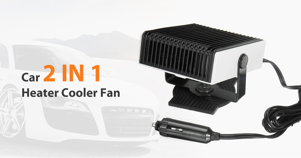 Car Portable 250W 12V / 24V 2 in 1 Heater Cooler Fan- Silver 24V