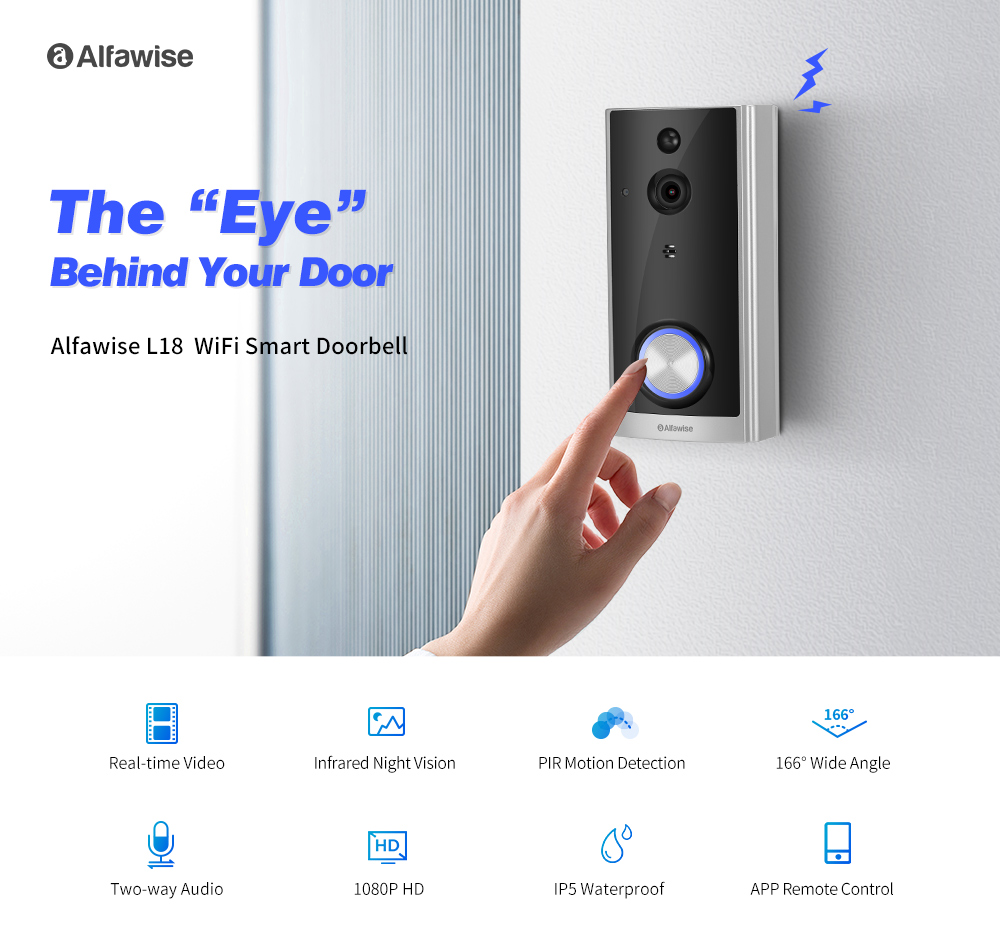 Alfawise L18 HD1080P Wireless WiFi IP5 Waterproof Video Doorbell Two-way Audio Talk Real-Time Video PIR Motion Detection Security Camera Night Vision- Silver