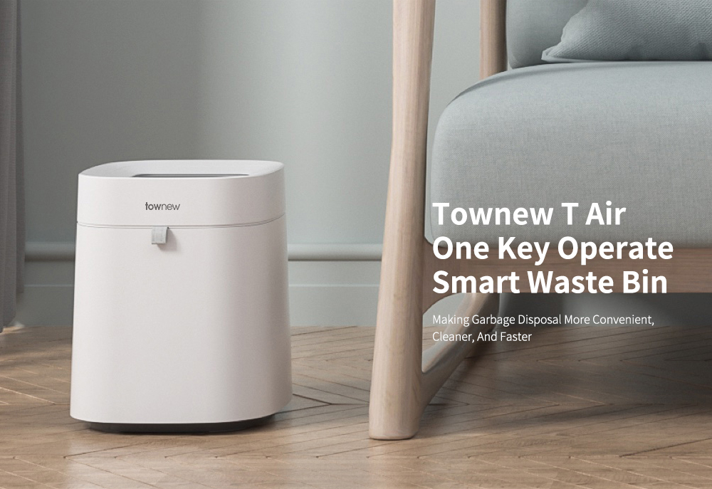 Townew T Air One Key Packaging Replacing Bag Waste Bin 12L Smart Trash Can from Xiaomi youpin- White T Air Waste Bin