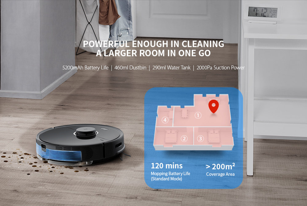 Roborock S5 Max Laser Navigation Robot Vacuum Cleaner with Large Capacity Water Tank Off-limit Area Setting AI Recharge- Black EU Plug