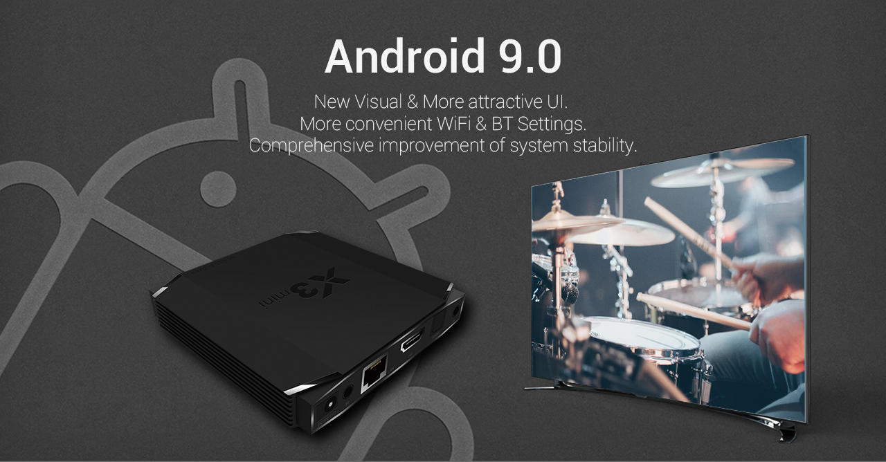 EACHLINK X3 MINI Android 9.0 Smart 4K TV Box with Amlogic S905X3 2.4GHz + 5.0GHz Dual-band WiFi 100Mbps USB3.0 BT4.2 H.264 H.265 Support 8K 24fps- Black 4GB DDR4 +32GB EMMC EU Plug