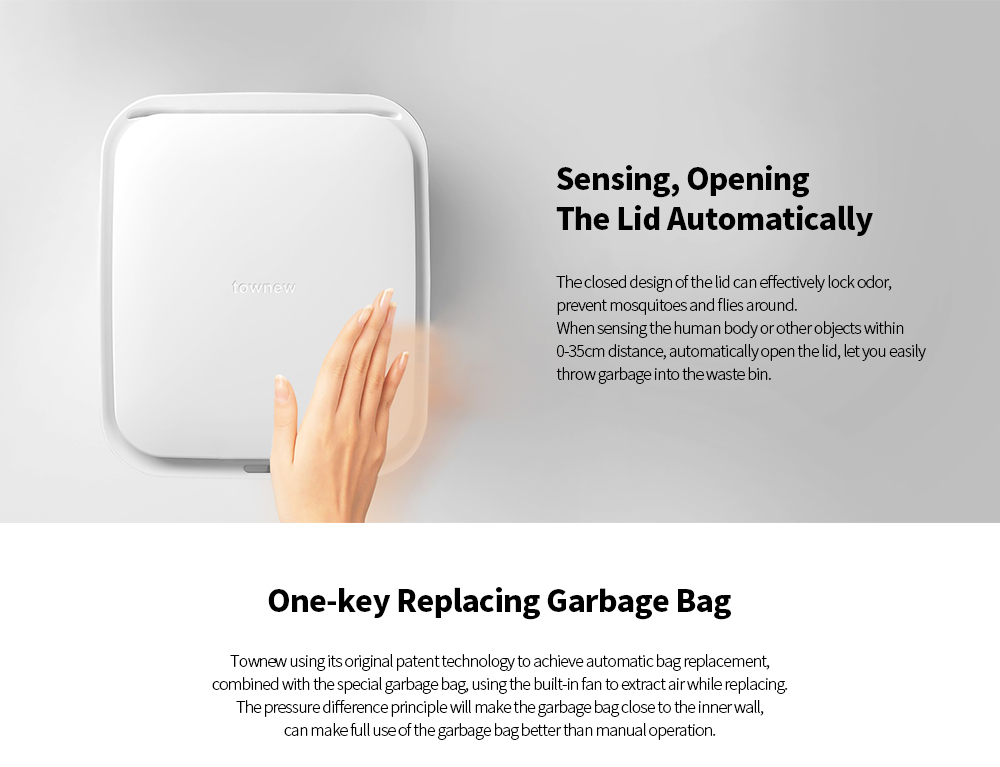 Townew T1 Sensing Induction Opening Intelligent Waste Bin Smart Automatic Reset Garbage Bag Trash Can 15.5L from Xiaomi youpin- White T1 Waste Bin
