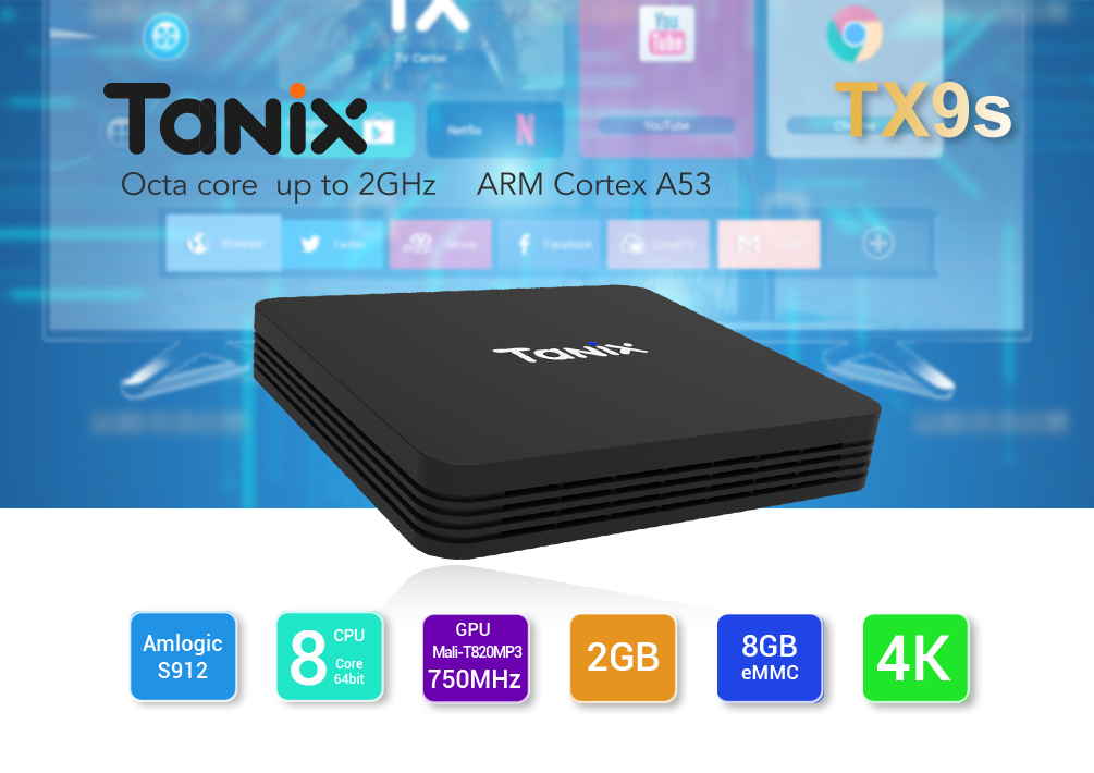 Tanix TX9S Smart 4K TV Box- Black EU Plug