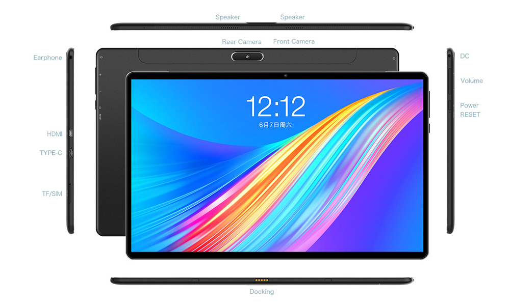 Teclast M16 11.6 inch 4G Phablet Android 8.0 Tablet PC 4GB / 128GB- Black