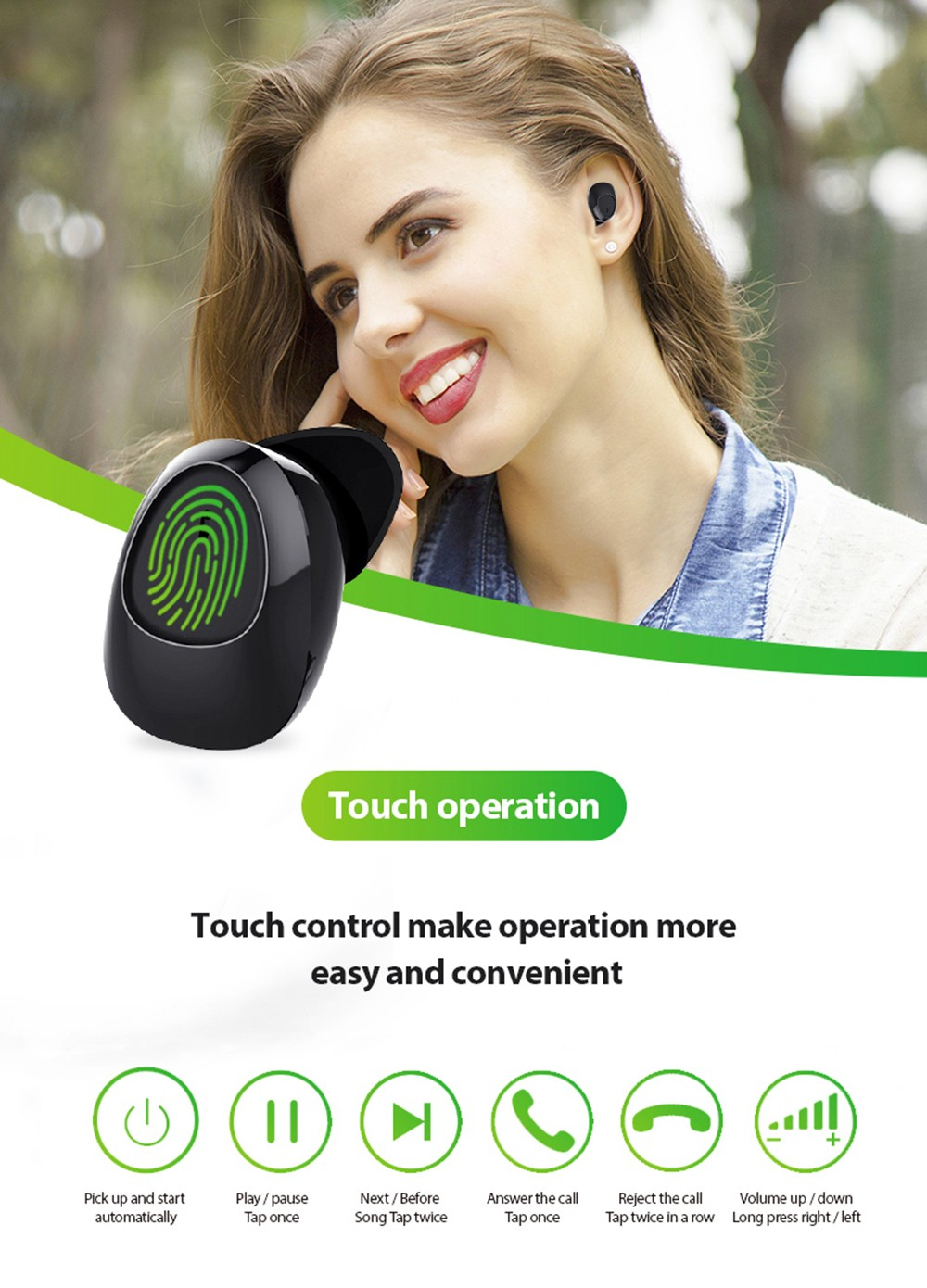 Smart AI TWS11B True Wireless Bluetooth Earphone Mini Portable Earbuds - Black